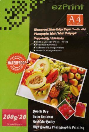 Dupla-matt (kétoldalasan nyomtatható), 200g, A/4, 20 lap/csomag, vízálló tintasugaras fotópapír